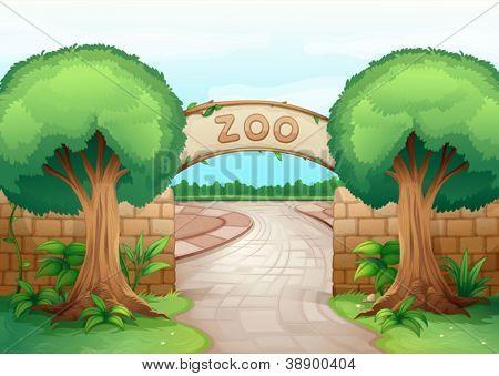 Ilustración de un zoológico en una naturaleza hermosa