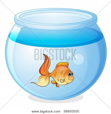 illustration of a fish and a bowl on a white background