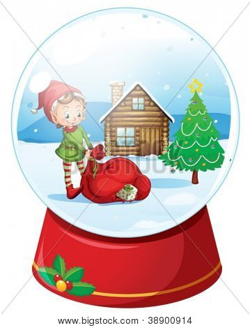 illustration of kids and a house in a round glass
