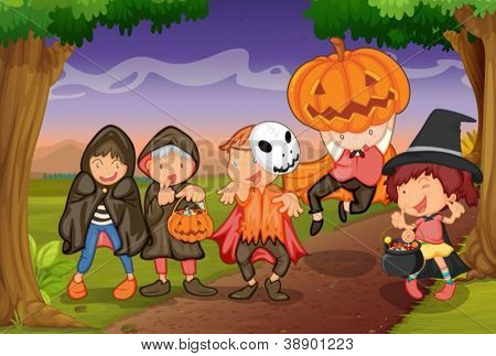 illustration of kids in jungle playing scary game