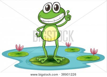 illustration of a frog with lotus plants on white