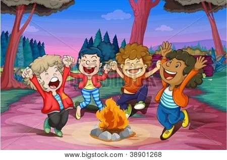 illustration of fire camp of kids in jungle