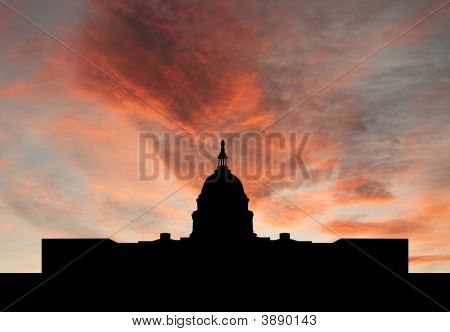 Us Capitol Building At Sunset