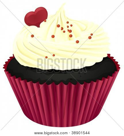 Illustration of an isolated cupcake on a white