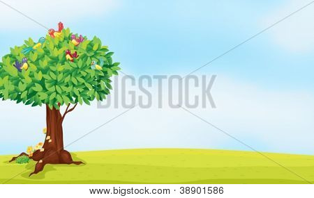illustration of a tree and birds in a beautiful nature