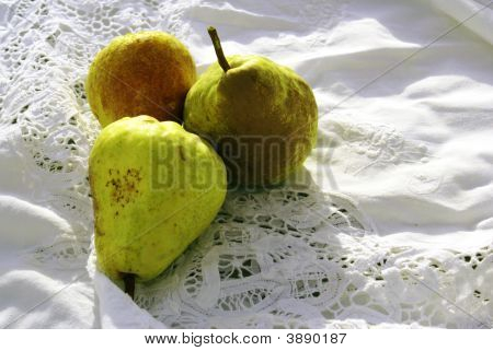 Pears On White Cutwork Tablecloth