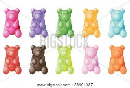 illustration of gummy bears on a white background