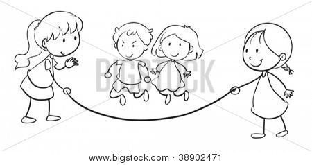 illustration of kids skip rope on a white background