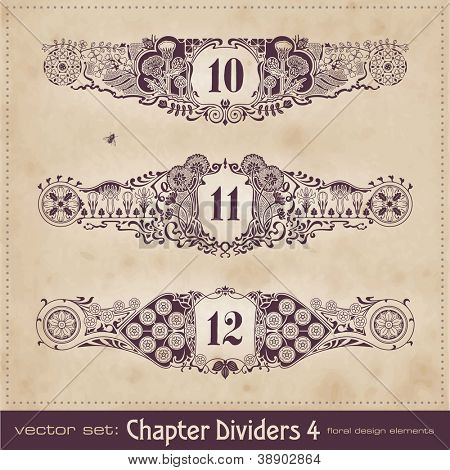 retro floral chapter dividers - set 4