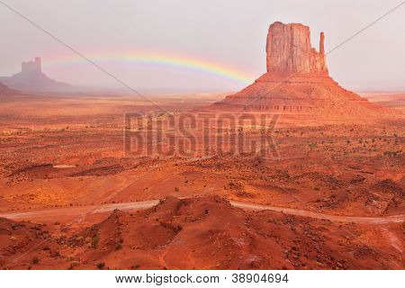 Grandiose and magnificent Valley of Monuments after a thunder-storm. Bright red