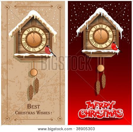 Christmas backgrounds with wooden cuckoo clock