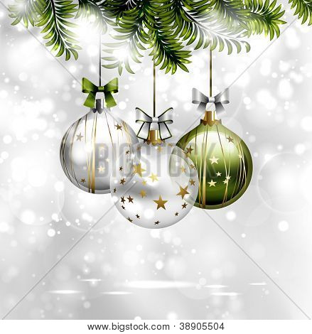 light Christmas background with three evening balls and green fir-tree