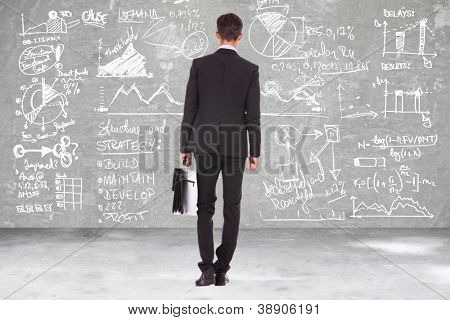 back view of a business man holding a briefcase and looking at some charts , graphs and calculations on a blackboard