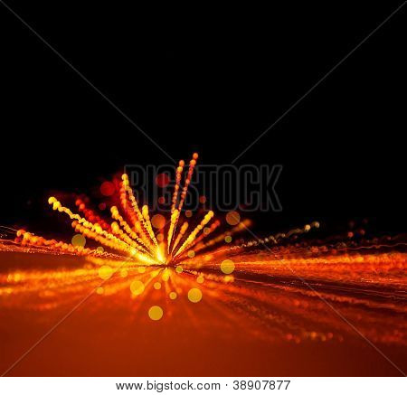 Image of holiday lights background, festive firework, abstract blur backdrop, birthday party, bright yellow light flash, xmas eve, dark night with glowing sparks, merry christmas greeting card