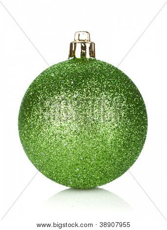 Christmas green bauble decoration. Isolated on white background