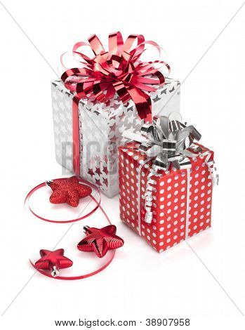 Two red and silver gift boxes with ribbons and christmas decor. Isolated on white background