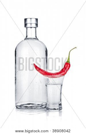Bottle and shot glass of vodka and red chili pepper. Isolated on white background