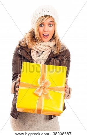 Surprised Woman With Gift Box