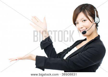 Beautiful asian business operator on white background