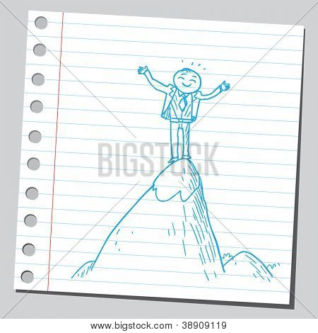 Businessman on top of the hill