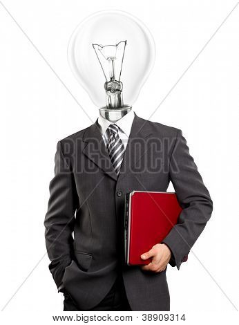 Lamp head business man with red laptop in his hands