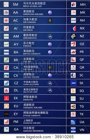 SHANGHAI, CHINA - MAY 27: Airflight list on May 27, 2012 in Shanghai, China. Pudong airport is the busiest international hub of mainland China, third busiest by cargo traffic in the world.
