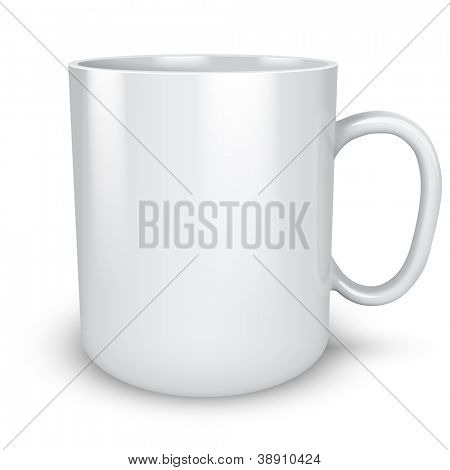 Blank white mug isolated on white background vector illustration.