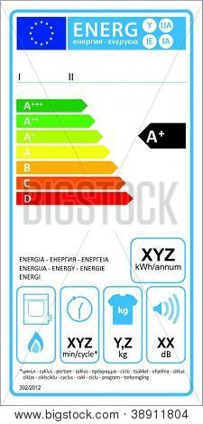 Tumbledryer gaz new energy rating graph label in vector.