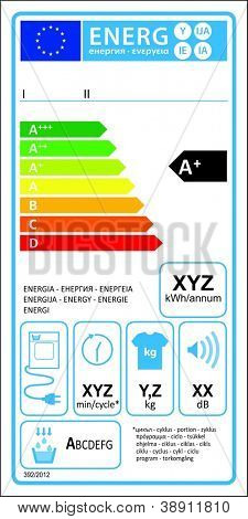 Tumbledryer condensation new energy rating graph label in vector.