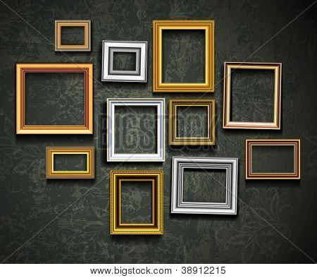 Vector de marco de imagen. Galería de arte de pared vintage.