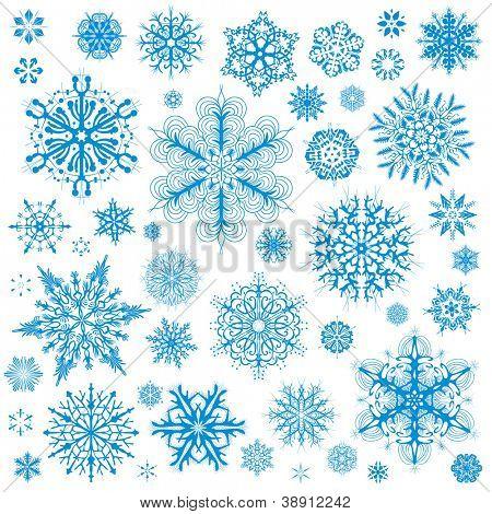 Iconos de vector de Navidad los copos de nieve. Snow flake colección artes gráficas