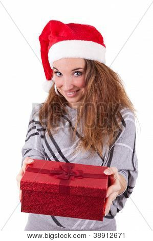Young Caucasian Woman Offering A Gift