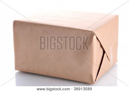 parcel box with kraft paper, isolated on white