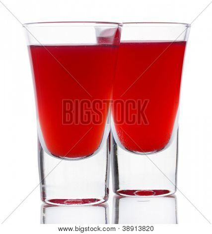Bloody Mary cocktails isolated on white