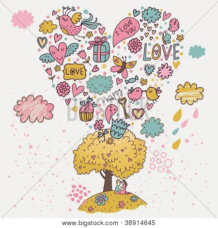 Romantic date under the tree of love. Stylish Valentine's Day illustration of a couple in love. Wedding invitation card. Lovely vector background
