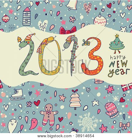 New 2013 Year concept background in cartoon style
