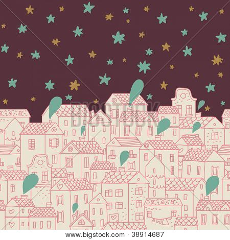 Panorama with cute town. Seamless vector pattern. Stylish night background with stars