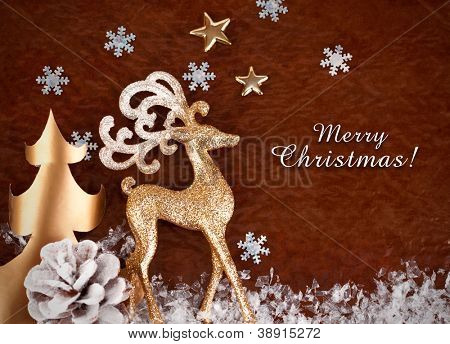 christmas background with gold deer and snowflake