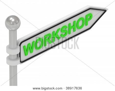 Workshop Arrow Sign With Letters