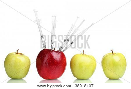 juicy apples and syringes isolated on white