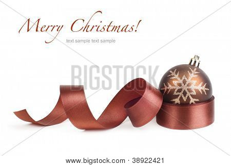 brown christmas ball and ribbon