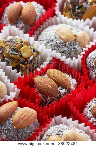 Candy with nuts, close up