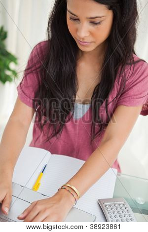 Brunette student using a laptop to do her homework