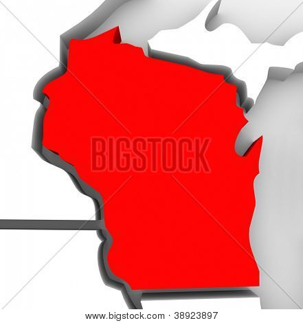 A red abstract state map of Wisconsin, a 3D render symbolizing targeting the state to find its outlines and borders