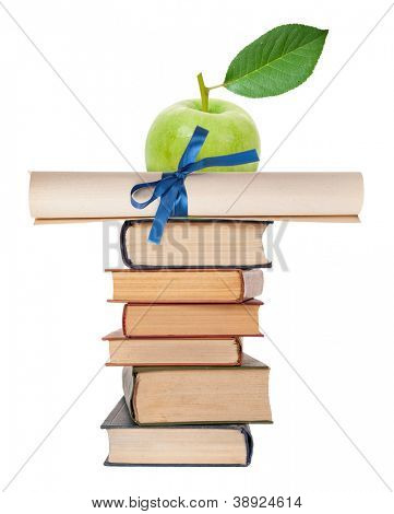 Diploma with blue ribbon and books