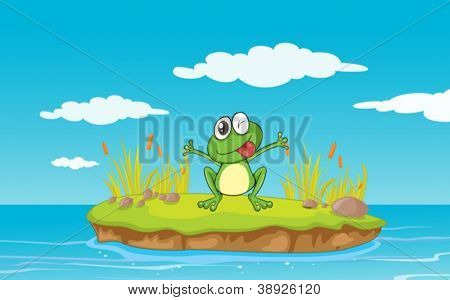 illustration of a frog and water in a beautiful nature