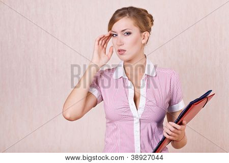 Businesswoman Perplexed By Problem Of Work