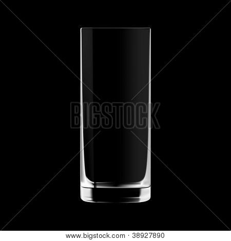 Empty tall drinking glass isolated on black background. Transparent glass.
