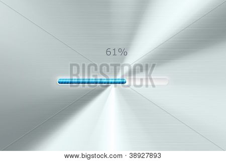 Progress bar on polished metal background. Vector loading bar in progress.