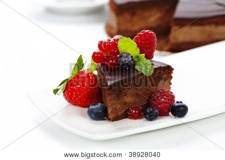 slice of delicious chocolate cake over white